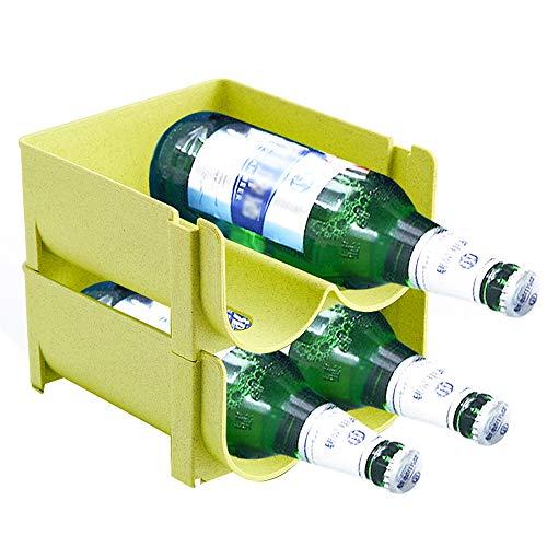 Juego de 2 botelleros de vino,Estantes para vinos apilables Tenga Siempre Ordenadas Sus Botellas de Vino y Otras Bebidas,Organizador Frigorífico con 4 Ranuras