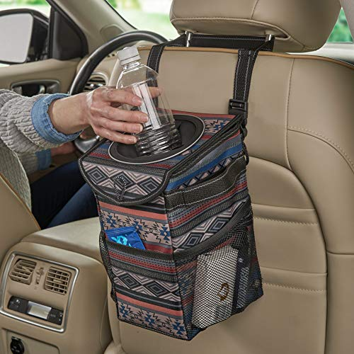 High Road StashAway Car Trash Can with Lid for Headrest or Console, Leakproof (Southwest)