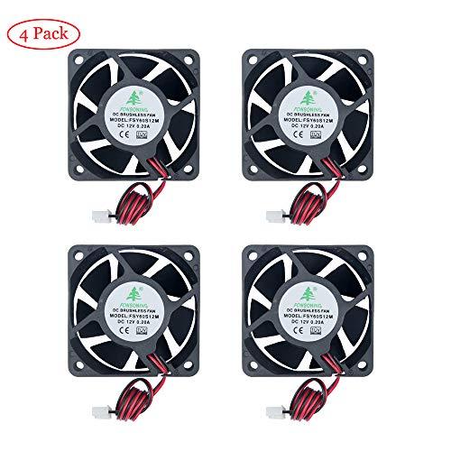 TeOhk 4Pcs DC 12V 0.2A Ventilador De Enfriamiento con Cable, 2Pin Terminal Mini Silencioso para Impresora 3D, DVR, Proyecto EléCtrico DIY, Etc, MóDulo de Ventilador de ConversióN de Frecuencia