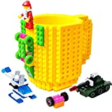 BOMENNE Build-on Brick Mug,Novelty Creative DIY building Blocks Puzzle Cups with 3 packs of Blocks,Unique Kids Party Fun mug For ALL Festival and Christmas gifts,Compatible with Lego,Yellow