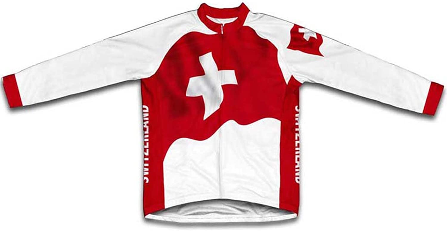 Switzerland Flag Winter Thermal Cycling Jersey for Women