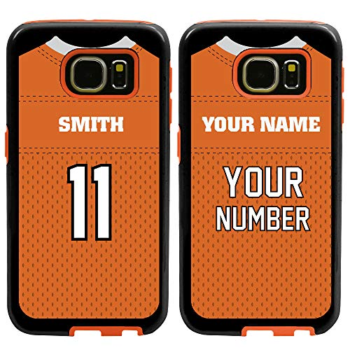 Custom Football Jersey Cases for Samsung Galaxy S7 by Guard Dog – Personalized Sports – Your Name and Number on a Protective Hybrid Phone Case. (Black/Orange)
