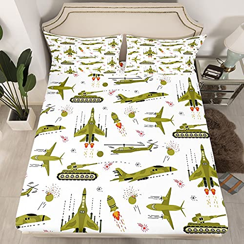 Airplane Cartoon Tank Bedding Fitted Sheet Aircraft Rocket Bed Sheet Set...