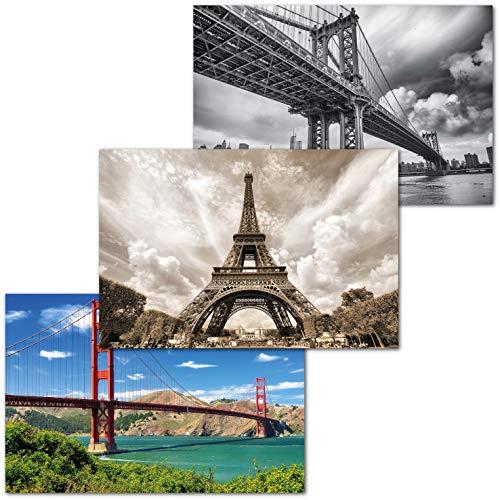 GREAT ART Juego de 3 Carteles XXL – monumentos de Acero – diseño Industrial Torre Eiffel Manhattan Puente Nueva York Golden Gate decoración Pared póster Mural Cada uno 140 x 100 cm