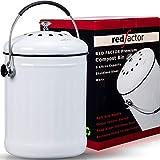RED FACTOR Premium Kompostbehälter Küche Aus Edelstahl Geruchlos - Bio Mülleimer - Inklusive 6 Kostenlosen Aktivkohlefiltern (Weiß, 5 Liter)