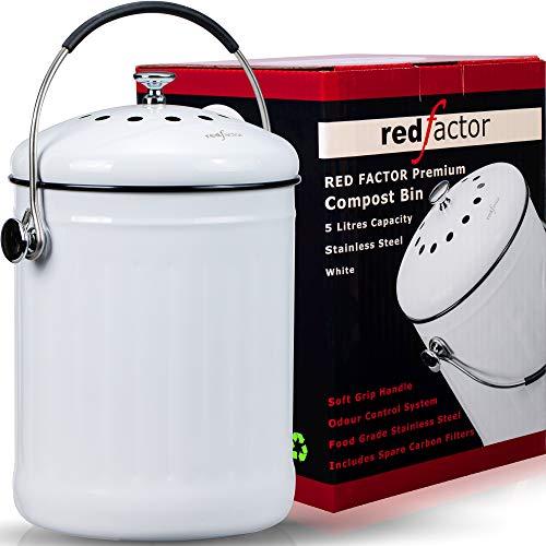 Premium Cubo Reciclaje de Cocina Inodoro de Acero Inoxidable   Cubo Basura Reciclaje   Incluye 6 Filtros de Carbón Activo de Repuesto (Blanco, 5 litros)