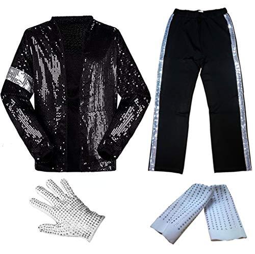 for Adult Child MJ Michael Jackson Billie Jean Jacket Suit Dance Cosplay Costume, Set(top+pant+glove+sock), kid S 36-52lb