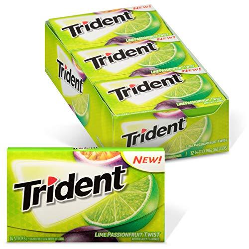 Trident Lime Passion Fruit Twist Sugar Free Gum, 12 Packs of 14 Pieces (168 Total Pieces)