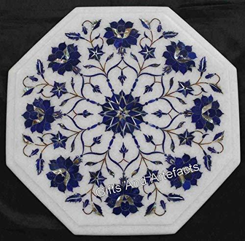 12 x 12 pulgadas de mármol blanco mesa de café Top lapislázuli piedra incrustada esquina cama mesa superior para dormitorio