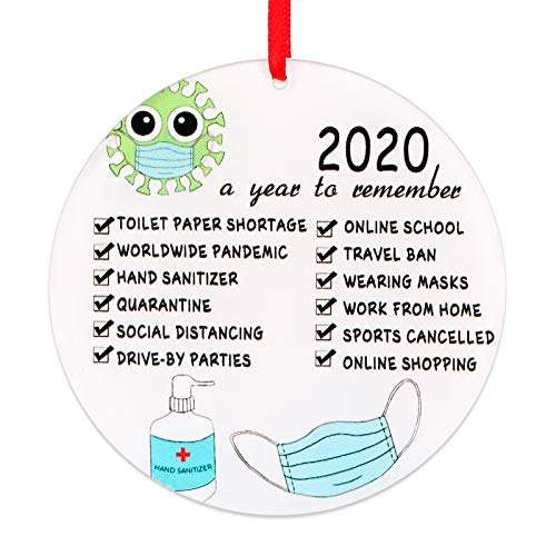FaCraft 2020 Christmas Ornament Quarantine,3.5' Funny Toilet Paper Ornament Tree Decorations,Pandemic Christmas Ornaments A Year to Remember 2020