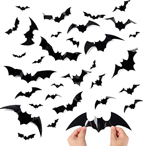 CHICHIC Large 3D Bats Stickers, DIY Halloween Wall Stickers Decal Window Clings, Realistic Looking Halloween Party Supplies for Indoor Outdoor Halloween Home Cemetery Decor, 48PCS, 12 Different Size