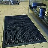 Wizgree Rubber Floor Mats for Kitchen Anti-Fatigue Mat Restaurant Bar Floor Mat New Door Mat Bath Mat Commercial Heavy Duty Drainage Mat for Garage Garden Use Black 36inch x 60inch from SallyMall