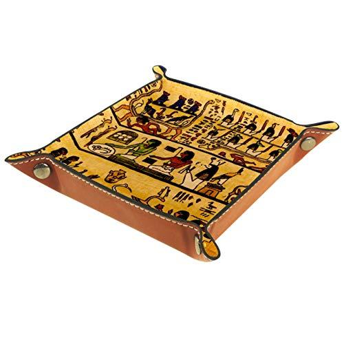 LynnsGraceland Tablett Leder,Alte ägyptische Papyrus- und Hieroglyphen,Leder Münzen Tablettschlüssel für Schmuck,Telefon,Uhren,Süßigkeiten,Catchall-Tablett für Männer & Frauen Großes Geschenk