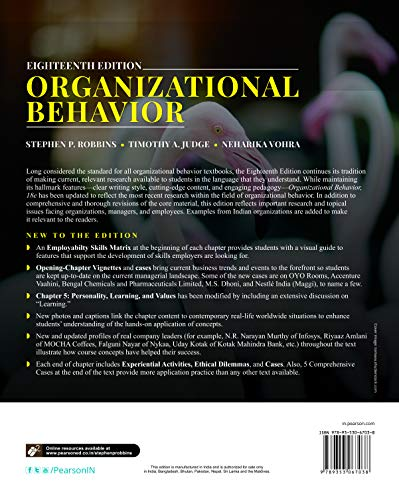 Organizational Behaviour | Eighteen Edition | By Pearson
