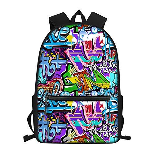 Showudesigns Kids Backpack High School Girls Boys Graffiti Print Children School Bag Packs Teenager College Book Bag Water Resistant Unisex Casual Travel Daypack Blue