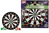 "M.Y 17"" Double Sided Dart Board with 6 Darts 