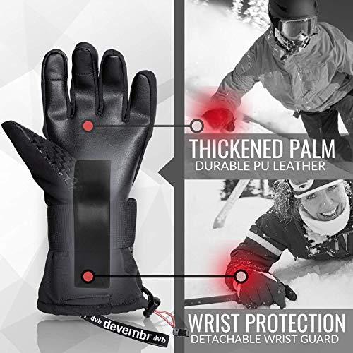 Ski Gloves Men&Women,devembr Snowboard Gloves 3M Thinsulate Insulation(Black,M)