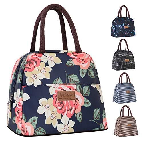 Buringer Reusable Insulated Lunch Bag Cooler Tote Box with Front Pocket Zipper Closure for Woman Man Work Picnic or Travel Red Flowers