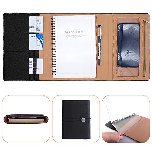 BelonLink A5 Cuaderno Clásico, Embrague Aplicar para viajes de negocios, Piel Sintética Tapa Blanda y, Classic Negro, Tamaño Grande 23 x 16 cm, 90 Páginas