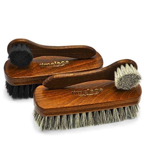 TIMELEOS Premium Schuhbürste für optimale Schuhpflege aus hochwertigem Rosshaar für Ihren Schuh im 4 Set Rosshaarbürste Glanzbürste Schuhputzzeug Schuhpolierbürste Schuhpflege Cremebürste Polierbürste