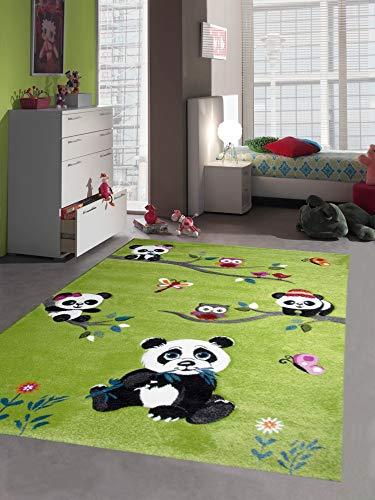 Traum Kinderteppich Kinderzimmerteppich Panda mit Eulen und Vögeln in grün Größe 120x170 cm