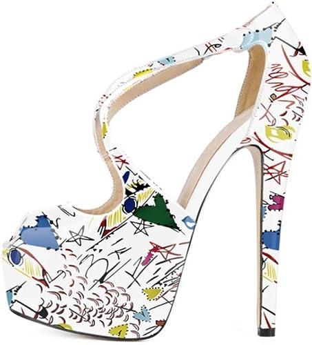 MagicXle Ladies'High Heels Sandals Fishmouth Haute Graffiti De Table Imperméable
