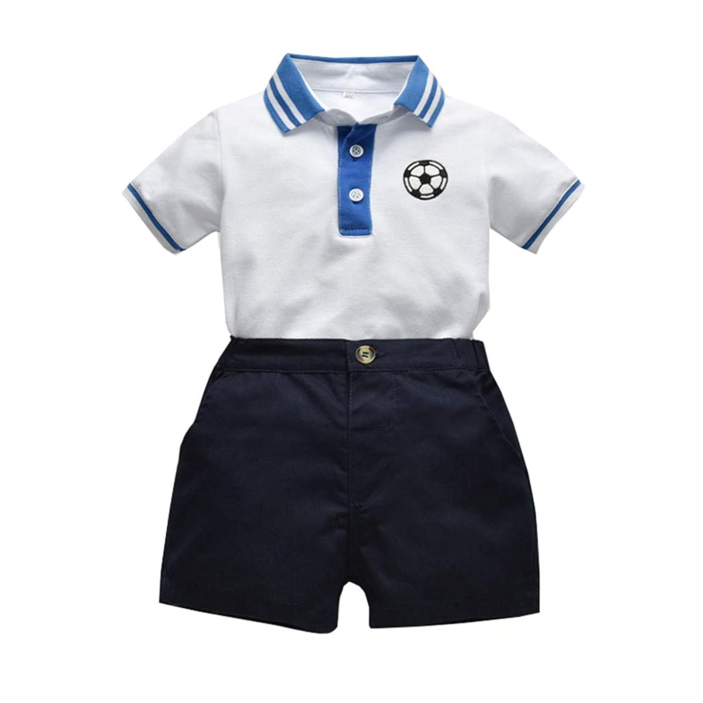 Toddler Baby Boys Clothes Cotton Gentleman Striped Football Polo Shirt Tops+Solid Shorts Bodysuit Outfits