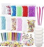 (30 pezzi) OOTSR accessori per la melma per ragazze, includono palle di schiuma, perline di acquamarina, polvere glitterata, contenitori di melma per l'artigianato della bava (senza melma)
