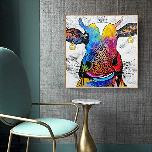 JRGGPO Colored cow 5D DIY Diamond Painting Kits Full Drill Adults and Kids gift Diamond Mosaic Art for Kids 5D Diamond Embroidery with Beads(40x50cmSquare diamond)