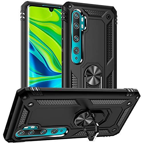 Pegoo Xiaomi Mi Note 10 Case,Xiaomi Mi Note 10 Pro Case,Hybrid Heavy Armor Silicone with a Kickstand Bumper Protective Cover Case for Xiaomi Mi Note 10 / Mi Note 10 Pro/Mi CC9 Pro (Black)