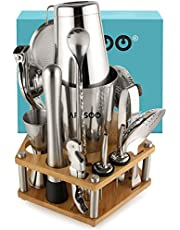ARSSOO Boston Cocktail Shaker Set. 16PC Bartender Kit with Stand. Boston Shaker Tin, Double Jigger, Muddler, Citrus Juicer, Ice Tongs, Bar Spoon, Alcohol Liquor Bottle Pourers and Drink Shaker Tools