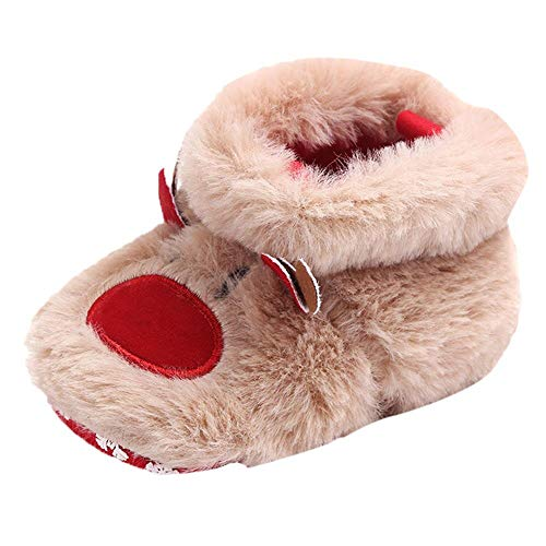 WFRAU Baby Flauschige Weihnachten Stiefel Mädchen Jungen Winter Karikatur Süß Weiche Sohle Schuhe Kinder Anti-Rutsch Kleinkindschuhe Neugeborene Prewalkers Wanderschuhe Anzug für 0-15 Monate