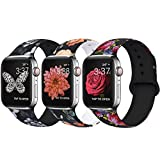 OriBear Compatible With Apple Watch Band 44mm 42mm Elegant Floral Bands For Women Soft Silicone Solid Pattern Printed Replacement Strap Band For IwatchSeries 4/3/2/1 S/M Gorgeous flowers