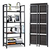 Giantex 4-Tier Folding Bookshelf Standing Shelf Units Display Rack Storage Shelf Industrial Style Utility Shelving with Metal Frame & Wood Layer (Gray, 23.5' LX12 X49.5 H)
