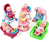 Click N' Play Set of 6 Mini 5' Baby Girl Dolls with Accessories,...
