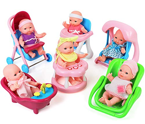 Click N' Play Set of 6 Mini 5' Baby Girl Dolls with Accessories, Stroller, High Chair, Bathtub, Infant Seat, Swing, Walker