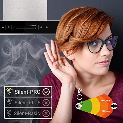 Premium-Dunstabzugshaube, Wandhaube (90cm, Edelstahl, schwarzes Glas, Extra-leise, WIFI, Energieklasse A++, 10 Stufen, LED-Beleuchtung, TouchSelect Sensortasten) FLAT9005ED – KKT KOLBE - 7