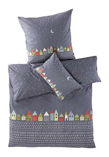 hessnatur Baby Mädchen und Jungen Unisex Renforcé Bettwäsche aus Reiner Bio-Baumwolle graublau 135x200+80x80 cm