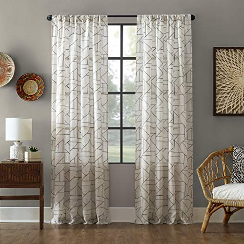 "Archaeo Fragmented Geometric Embroidery Mid-Century Modern Natural Blend Curtain, 50"" x 95"" Panel, Gray/Linen"
