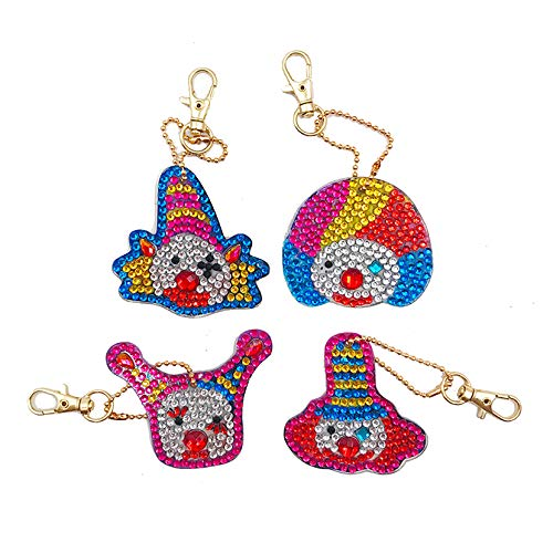 EIYUN 4 Pieces Diy 5d Diamond Painting Accessories Full Drill Circus Clown Keychains for Art Craft Bag Decor,Phone Straps,Key Ring
