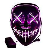 Foneso Máscaras LED de Halloween, terribles Disfraces para Halloween, Cosplay, Carnaval, Fiestas alimentadas con batería (no Incluidas)