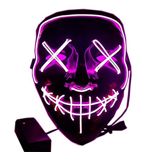 Foneso Halloween LED Maschere, LED Illumina la Maschere,per Halloween Cosplay Feste del Partito Halloween Costumi, Maschera Smorfia Alimentato, Halloween Accessori (Porpora)