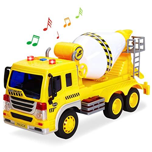 HERSITY Betoniarka, zabawka samochodowa, duża z dźwiękiem i światłem, piaskownica, zabawka dla dzieci, prezent dla dzieci w wieku 3 4 5 lat, 1:16 zabawka mieszająca