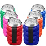 SUPER SOFT Beer Can Cooler Sleeves for Ice Cold Drink, Reversible Double Sided Embossed Design - 6 Pack Collapsible Insulated Soda Bottle Holder Premium Quality Many Color Party koozies by Metric USA