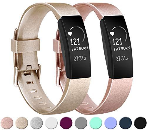 Amzpas Kompatibel mit Fitbit Inspire/Fitbit Inspire HR Armband, Weiches TPU Ersatzband Uhrenarmband Zubehör für Fitbit Inspire/Inspire HR Fitness Tracker (00 Rose Gold+Gold, S)