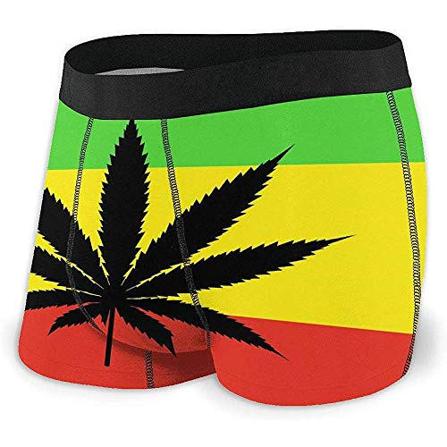 Millancty Rasta Weed Flag Boxershorts für Herren Stretch-Unterwäsche No Ride-up Boxer Underwear XL