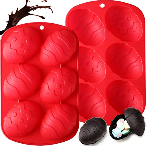 Easter Chocolate Bomb Mold 6 Holes Egg Shape Silicone Cake Baking Mold for Cocoa Bomb, Candies, Jelly, Dome Mousse, Ice Cube, Pudding, Handmade Soap, Cupcake Baking Pan Party