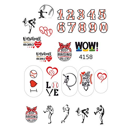 Baseball Mom Fan Water Slide Nail Stickers for Nail Art Design (Set 4158)