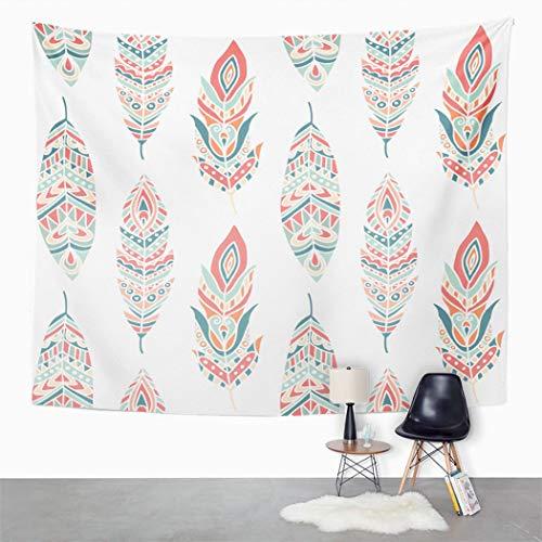 Y·JIANG Tapiz blanco, plumas étnicas aztecas tribal hogar dormitorio decorativo gran tapiz, manta ancha para colgar en la sala de estar, dormitorio, 80 x 60 pulgadas