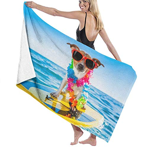 Toallas de Playa Toallas Secado rápido,Perro surfeando en una Tabla de Surf con una Cadena de Flores y Gafas de Sol, en la Orilla del mar,Toallas de baño per Uso quotidiano 80x130CM